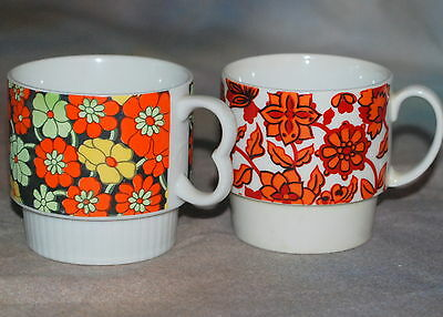 Vintage 1970's Coffee Cups Flower Power Floral Tea Stackable Mugs Retro Groovy