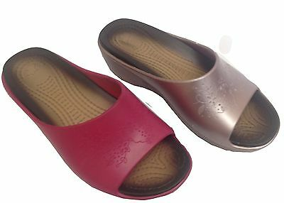 2 x JOB LOT WOMENS LADIES WEDGE SUMMER SANDALS COMFORT INDOOR OUTDOOR CUSHIONED