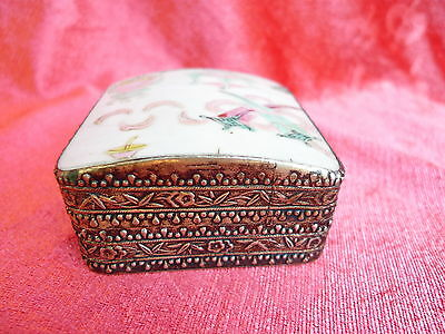 Beautiful, antique covered dish __METAL __ with Chinese Porcelain_