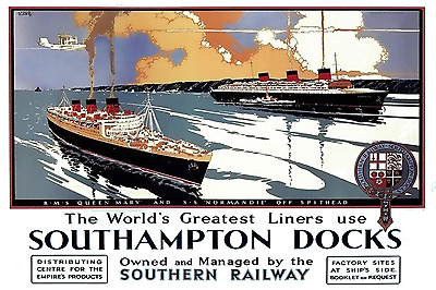 Southampton Docks Queen Mary Normandie Ad Poster 12 x 18