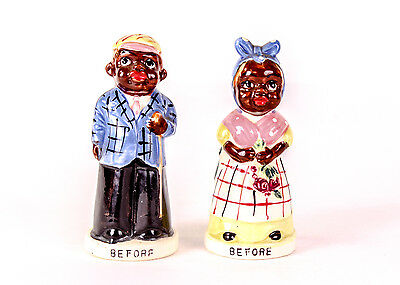 "Very Rare Vintage Black Americana ""Before and After"" Turn About Salt & Pepper"