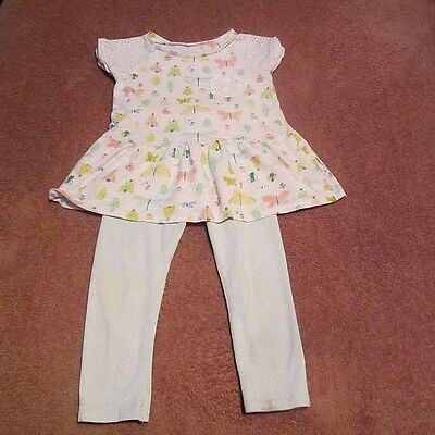 Baby Girls Toddler Cherokee Butterflies/Bugs Shirt,Pant Two-Piece Outfit Size 3T
