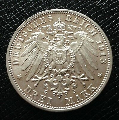 1913 E German Silver Drei Mark Coin - Excellent Condition