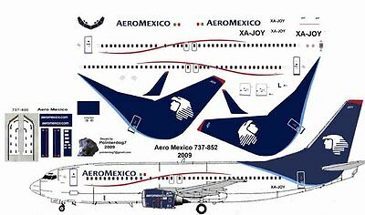 Aero Mexico Boeing 737-800 decals for Revell 1/144 kit