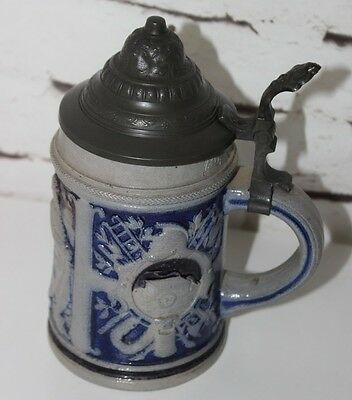 Antique German Cobalt Blue Salt Glaze Lidded Stoneware Beer Stein   [PL3619]