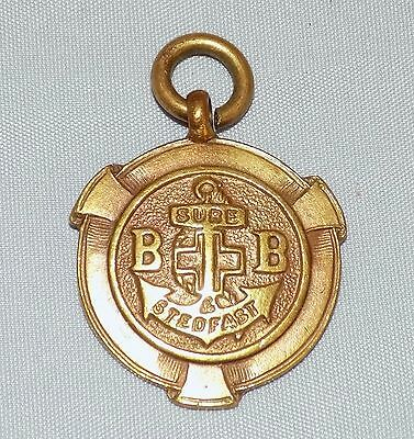 """Vintage unmarked """"yellow metal"""" BB Boys Brigade Pocket Watch Chain Fob Medal"""