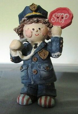 """Ceramic Police Woman Patchwork Crossing Guard Whistle Children School 3 3/8"""""""