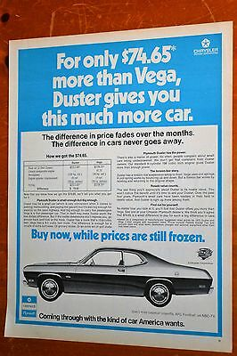 Neat 1971 Plymouth Duster Ad Compared To Vega - 70S Vintage