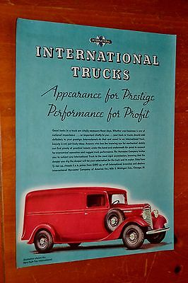 Lovely Red 1934 International Half Ton Panel Truck Ad - Retro 1930S Vintage