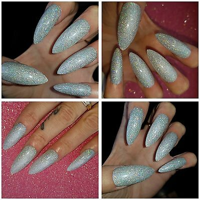 **LONG LENGTH** ULTIMATE PARTY Silver Holographic Glitter Stiletto Nails x 20