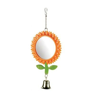 """Budgie Toy SUNFLOWER MIRROR & BELL Double Sided Mirror 5"""" Aprx Boredom Breaker"""