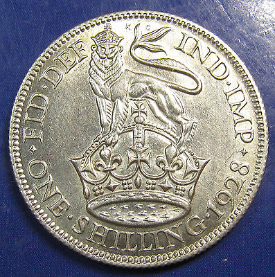 1928 1/- George V silver Shilling - good coin, extremely high grade