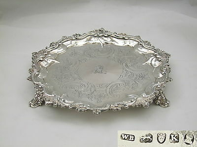 Rare George Iii Hm Sterling Silver 3 Footed Salver 1805
