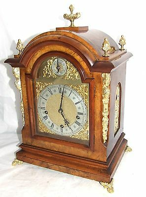Antique Westminster 3 Train Musical Walnut & Brass Mounts Bracket Mantel Clock • £1,595.00