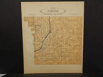 Minnesota Le Sueur County Map Tyrone or Waterville Township 1928 Dbl Side L10#76