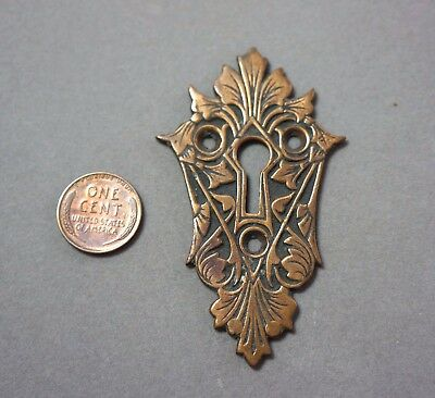 Antique Brass Escutcheon Ornate Keyhole Cover Plate