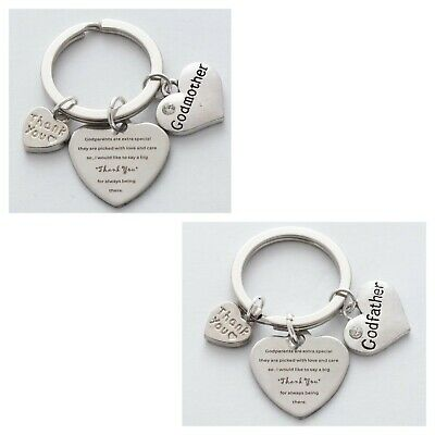 Christening Baptism Godmother Godfather key ring nickel safe zinc alloy charms