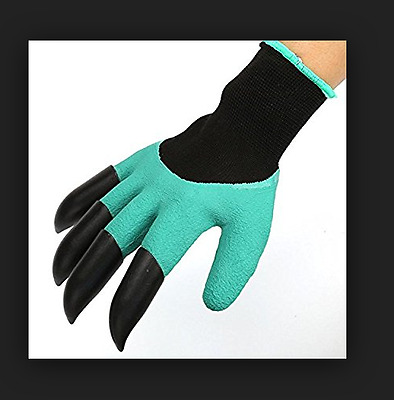 2 pair Garden Gloves for gardening Digging & Planting with 4 ABS Plastic Claws