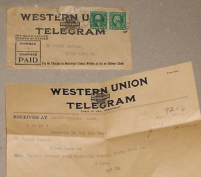 ***early 1914 Western Union Telegram Death Notice W/ Envelope & Stamps***