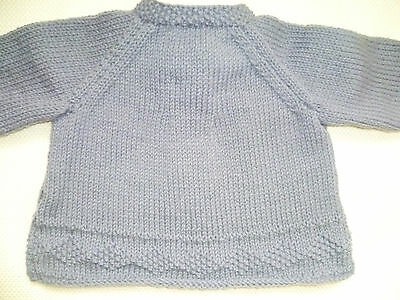 Hand-knitted baby girl's cardigan 6-12/18 months grey/blue
