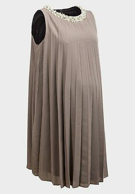 "Rock A Bye Rosie Size 8- 18 Mushroom "" Wendy"" Maternity Pleated Occasion Dress"
