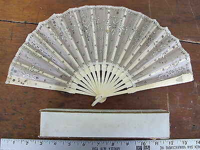 Antique Lace Sequins Carved Cow Bone Ladies Hand Painted Paper Folding Hand Fan