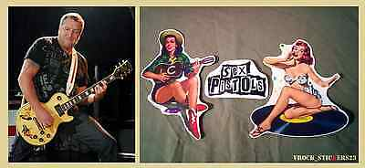 Steve Jones guitar stickers retro girls + logo Sex Pistols Punk Rock decal