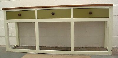 Large  Victorian  Pine 3  Drawer  Dresser Base With Stripped Top
