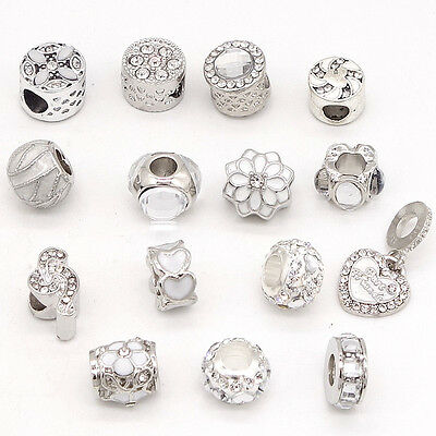 European 2pcs Silver CZ Charm Beads Fit Necklace Bracelet Pendant DIY clear