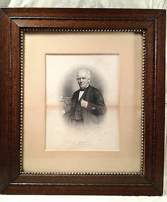 Engraved Portrait of Man Standing by Fireplace Thomas C Jenkins