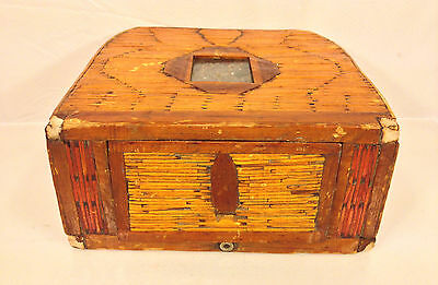 Antique Asian Box Purse Wood Hinged Side Multicolor Glass Designed Area Under Gl