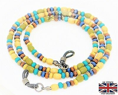 Glasses Retainer Cord Neckless Strap Real Wood Multicolour Beads Design - SG-UK