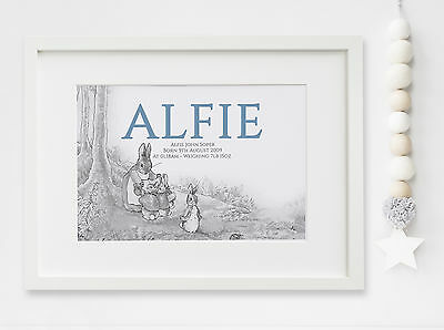 Personalised New Baby Peter Rabbit Birth Nursery Print Name Christening UNFRAMED