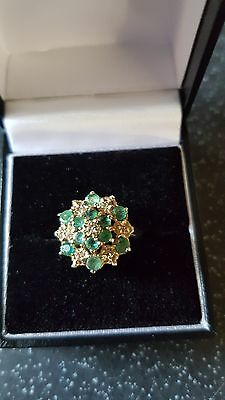 Vintage 9Ct Gold Emerald And Diamond Princess Cluster Ring. O 1/2 Size