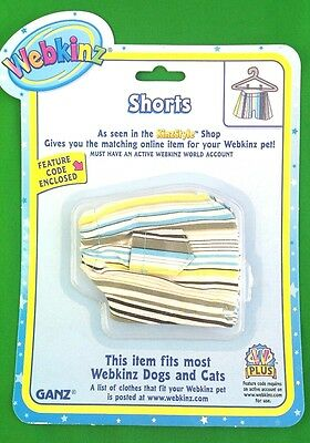 Webkinz Clothes Striped Shorts Cat Dog Fits Any Pet New Sealed Code