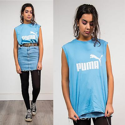 Vintage Womens Puma 90's Sports Vest Top Sleeveless T-Shirt Baby Blue Casual 14