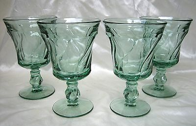 Lot of (4) Fostoria Jamestown Green Water Glasses Goblets