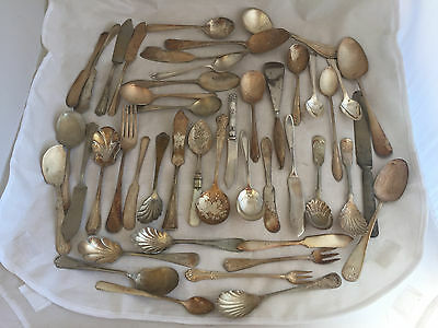 Lot of 45 Silver Plate Rogers Sheffield Maywood Oneida Spoons Forks Knives Mix