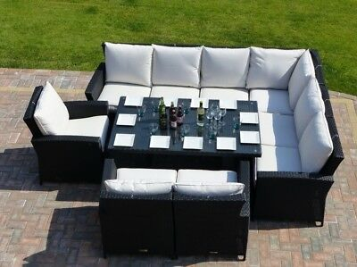 9 Seater Rattan Garden Furniture Sofa Dining Table Set 4Pc Wicker Outdoor