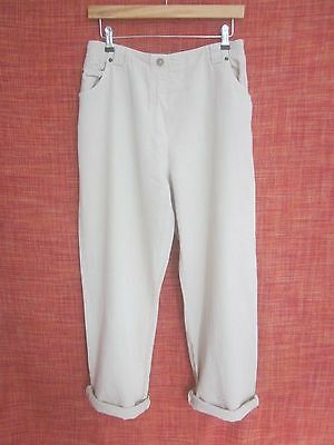 Vintage Pale Beige Cotton Blend High Waisted Mom Trousers 12 14 Blogger Festival