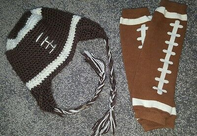 brown Football braided Beanie Hat Knit & Leggings set newborn baby infant photo