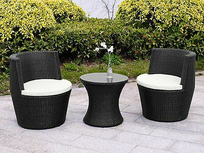 Rattan Garden Furniture Vase Set Wicker 3Pc Patio Chairs Coffee Table Outdoor