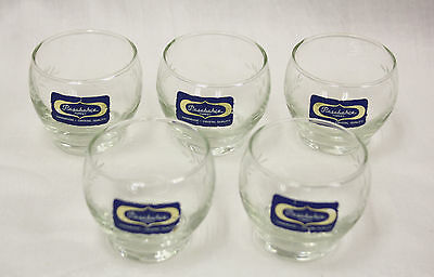 """Set of 5 Vintage Pasabahce Etched 2"""" Crystal Art Glasses - Handmade in Turkey"""