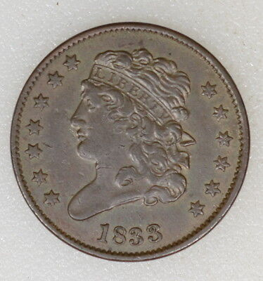 1833 Xf Cond Classic Head Half Cent. Nice Strike And Even Color - I-7727 F