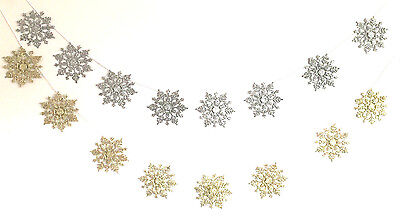 Christmas Glittered  Snowflakes Garland Banner String Wall Hanging Decorations