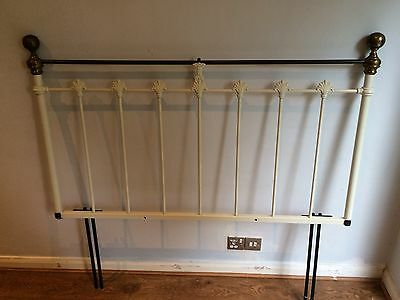 Vintage Style Cream and Antique Brass Colour Double Bed Metal Headboard