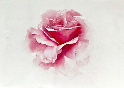 "Aquarell - Original - ""Rose"" - Blumen - Tiere - Vogel - Natur-Watercolor-Flowers"