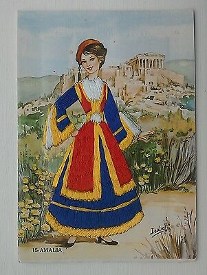 Greece embroidered postcard 15 Amalia