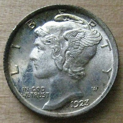 1923 Mercury Dime - Frosty BU with Light Toning and Full Split Bands