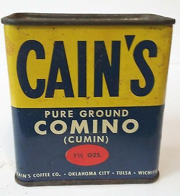 Vintage CAIN'S COMINO (CUMIN) Metal Spice Tin - Marked 15 Cents